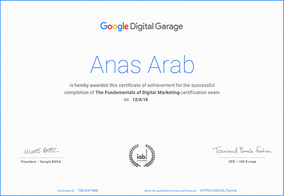 Anas Arab Digital marketing cert