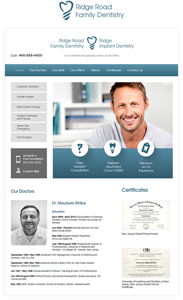 dentistry clinic web design