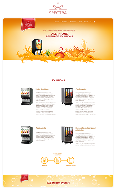 Juice vending machines web design